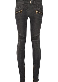 Balmain Woman Moto-style Distressed Low-rise Skinny Jeans Dark Gray