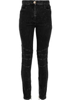 Balmain Woman Moto-style Faded High-rise Skinny Jeans Black