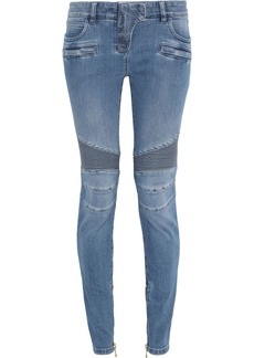 Balmain Woman Moto-style Faded Low-rise Skinny Jeans Mid Denim