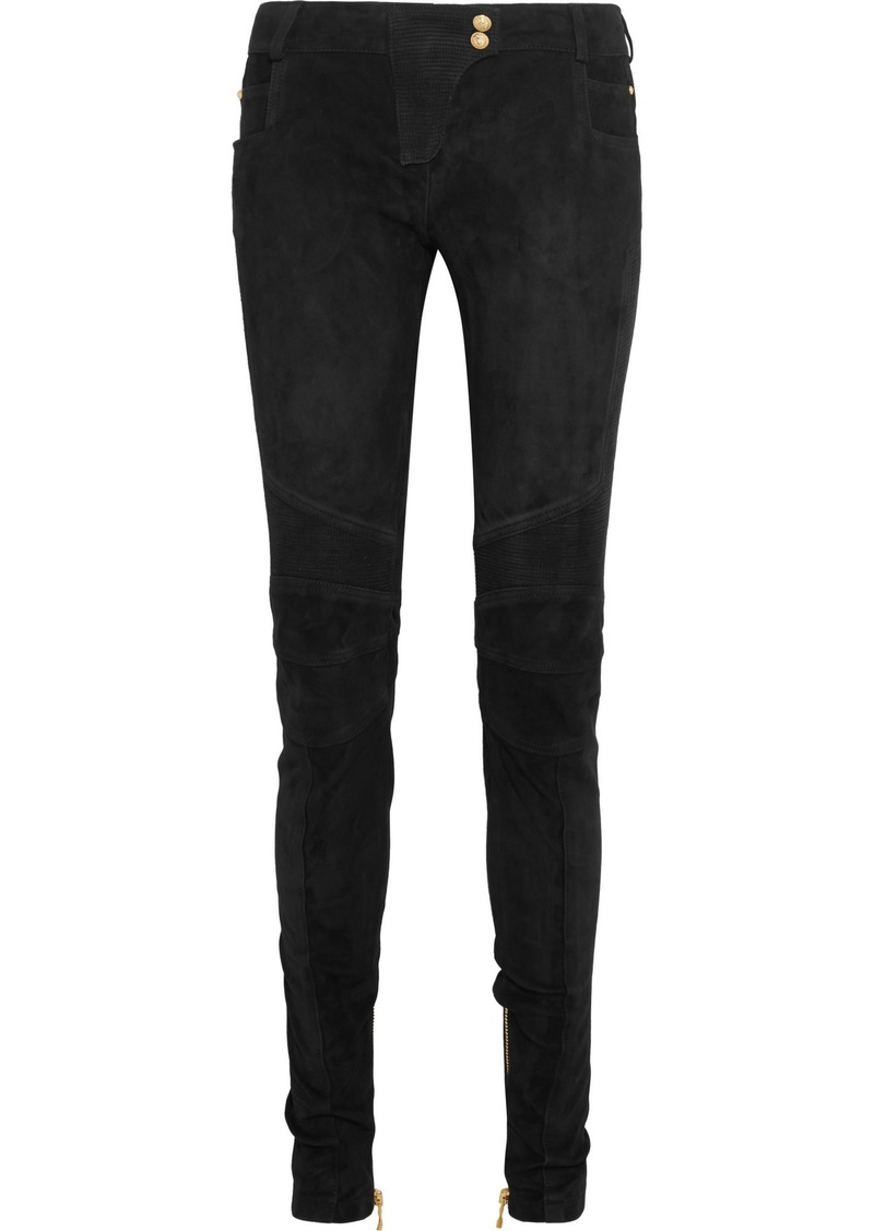 Balmain Woman Moto-style Suede Skinny Pants Black