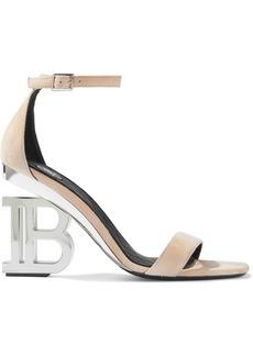 Balmain Woman Naomi Logo-embellished Suede Sandals Neutral