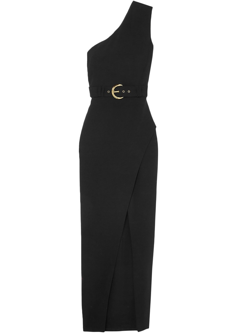 Balmain Woman One-shoulder Wrap-effect Crepe Maxi Dress Black