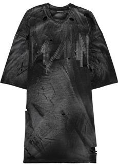 Balmain Woman Oversized Distressed Printed Cotton-jersey T-shirt Black