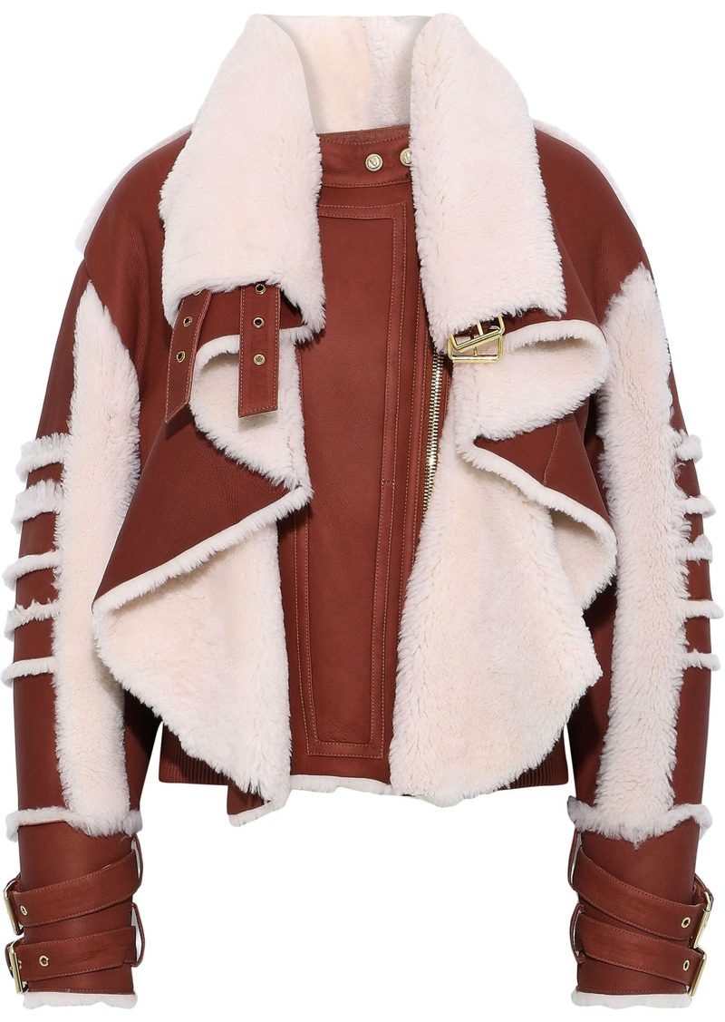 Balmain Woman Paneled Leather And Shearling Biker Jacket Brown