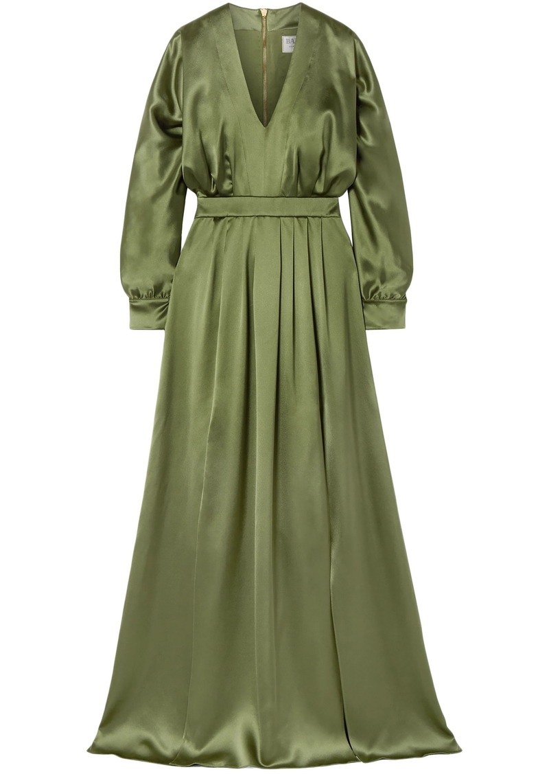 Balmain Woman Pleated Silk-satin Gown Leaf Green