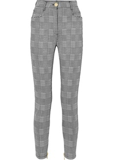 Balmain Woman Prince Of Wales Checked Cotton-blend Skinny Pants Gray