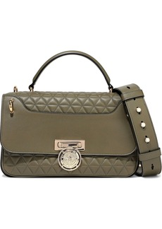 Balmain Woman Renaissance Smooth And Quilted Leather Shoulder Bag Army Green