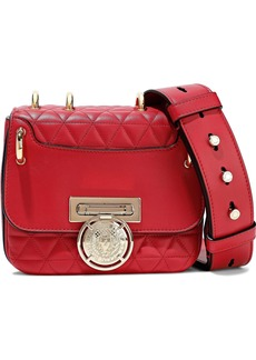 Balmain Woman Renaissance Smooth And Quilted Leather Shoulder Bag Red