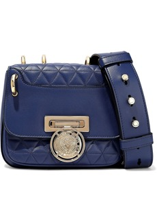 Balmain Woman Renaissance Smooth And Quilted Leather Shoulder Bag Royal Blue