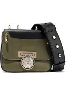 Balmain Woman Renaissance Two-tone Leather Shoulder Bag Army Green