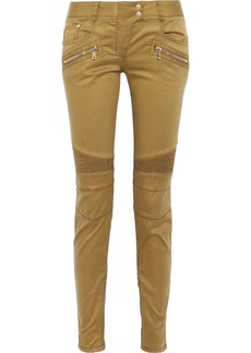 Balmain Woman Ribbed-paneled Sateen Skinny Pants Tan