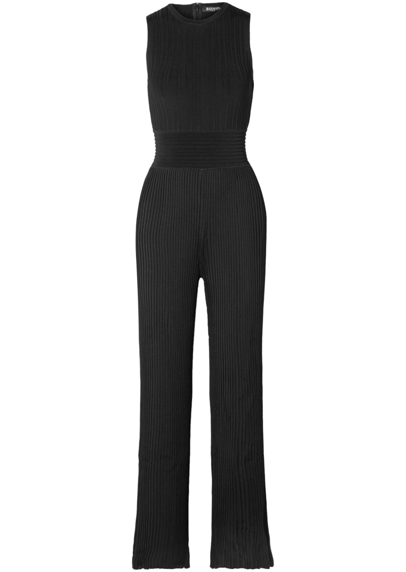 Balmain Woman Ribbed-knit Jumpsuit Black