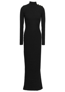 Balmain Woman Ribbed Merino Wool Turtleneck Maxi Dress Black