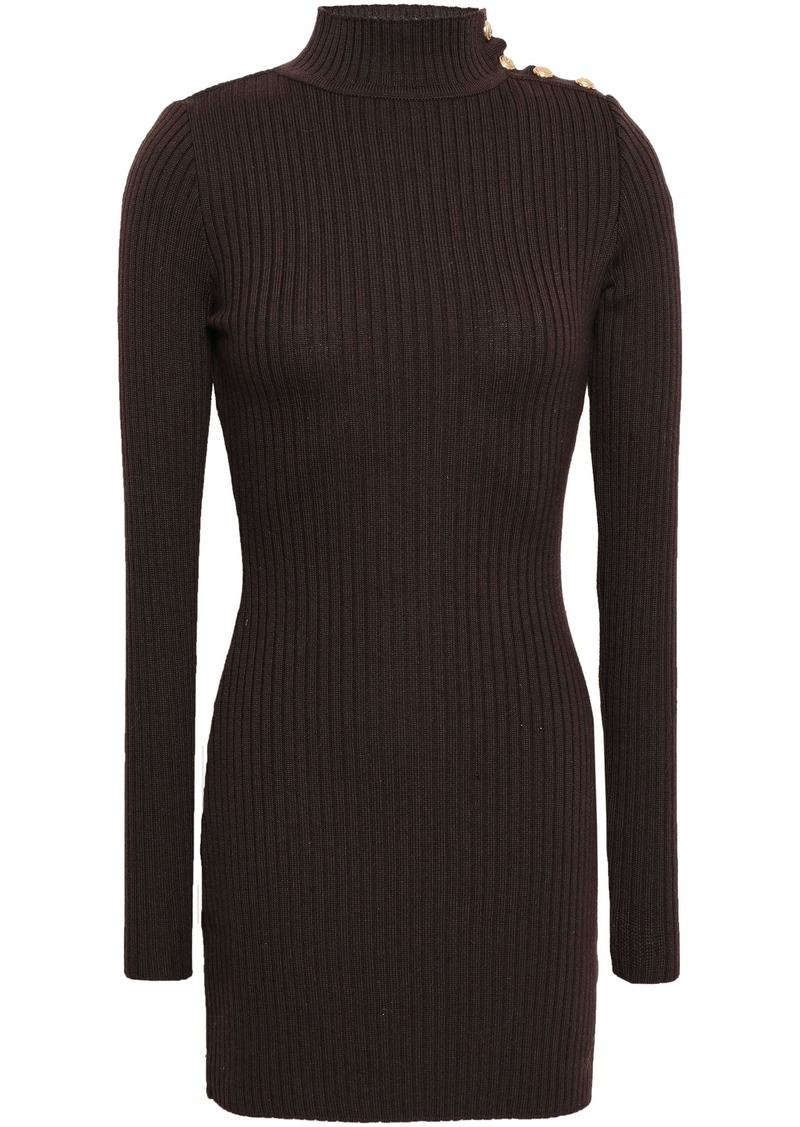 Balmain Woman Ribbed Merino Wool Turtleneck Mini Dress Chocolate