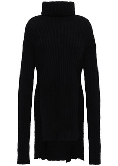 Balmain Woman Ribbed Mohair-blend Turtleneck Sweater Black
