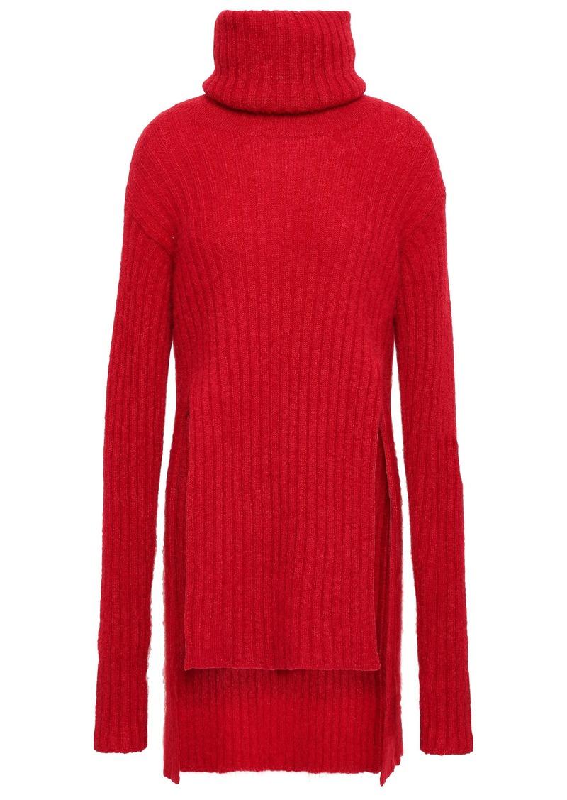 Balmain Woman Ribbed Mohair-blend Turtleneck Sweater Red