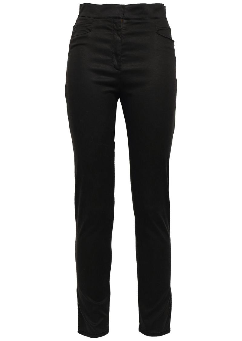 Balmain Woman Sateen Skinny Pants Black