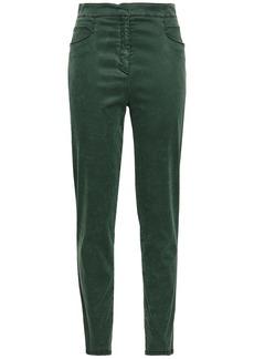 Balmain Woman Sateen Slim-leg Pants Dark Green
