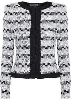 Balmain Woman Sequin-embellished Bouclé-tweed Jacket White