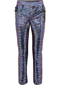 Balmain Woman Sequined Crepe Straight-leg Pants Lavender