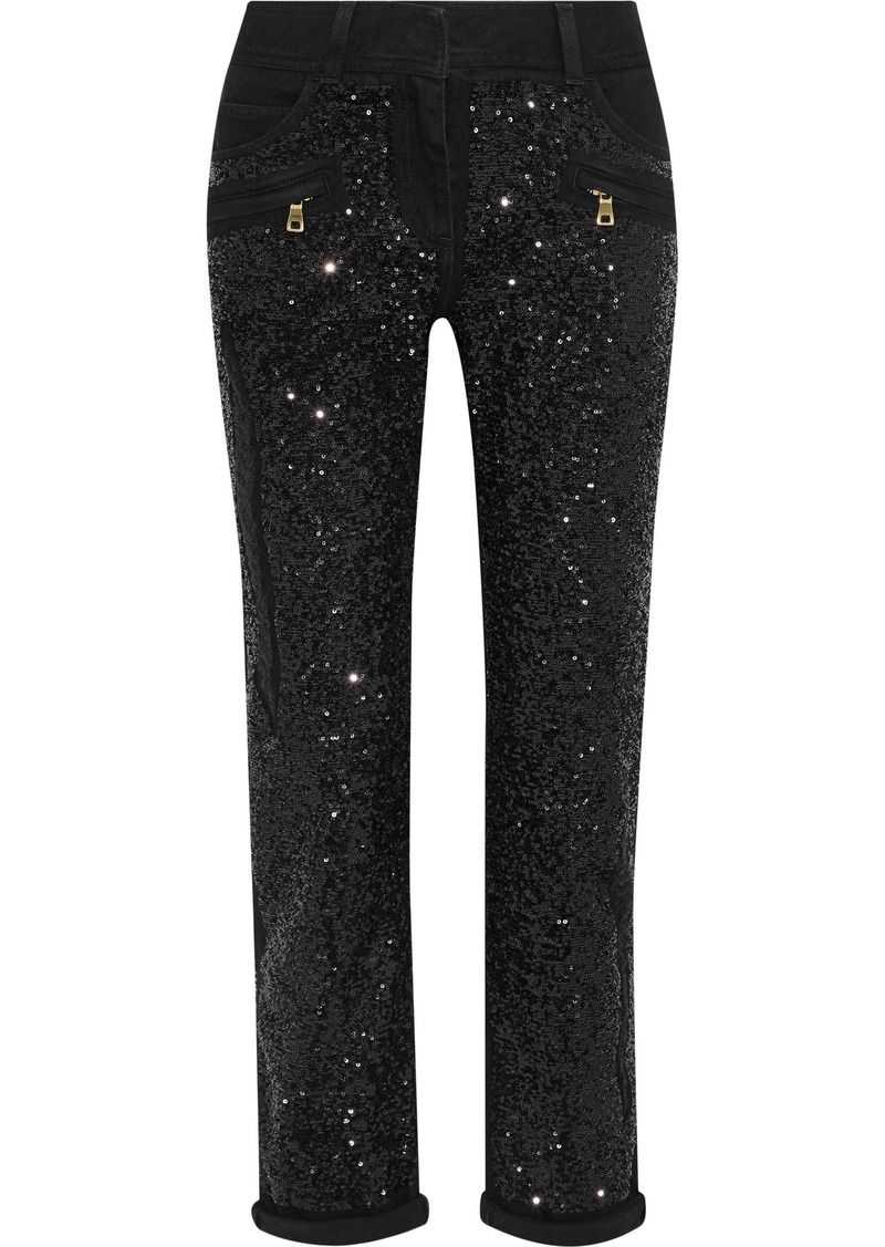Balmain Woman Sequined Mid-rise Slim-leg Jeans Black