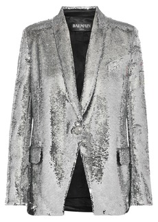 Balmain Woman Sequined Satin-crepe Blazer Silver