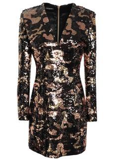 Balmain Woman Sequined Satin Mini Dress Black
