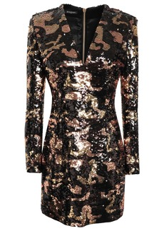 Balmain Woman Sequined Satin Mini Dress Black