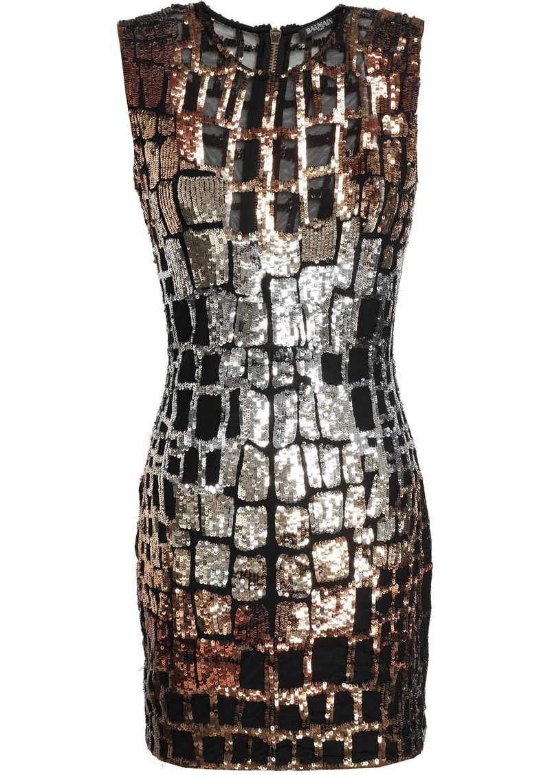 Balmain Woman Sequined Tulle Mini Dress Black