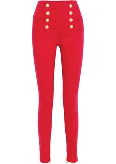 Balmain Woman Snap-detailed High-rise Skinny Jeans Red