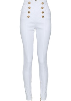 Balmain Woman Snap-detailed High-rise Skinny Jeans White