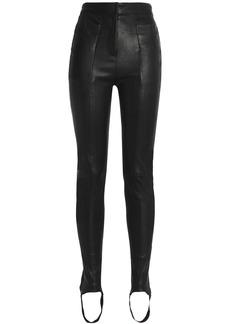 Balmain Woman Stretch-leather Skinny Stirrup Pants Black