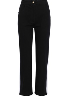 Balmain Woman Striped High-rise Straight-leg Jeans Black