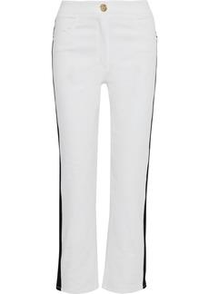 Balmain Woman Striped High-rise Straight-leg Jeans White