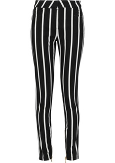 Balmain Woman Striped Mid-rise Skinny Jeans Black