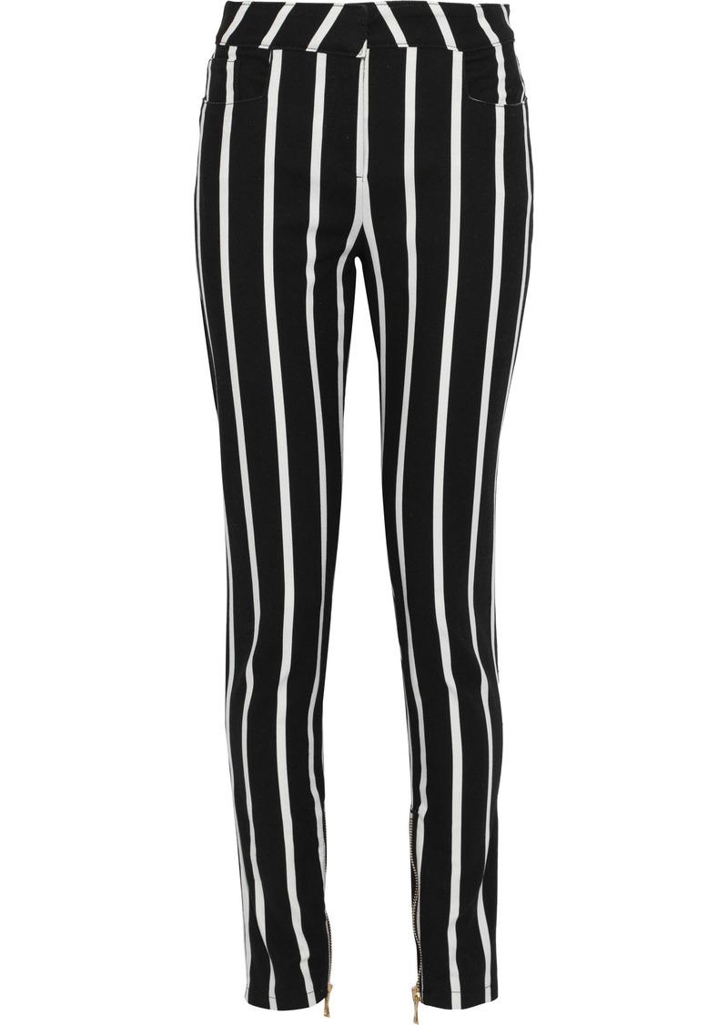 Balmain Woman Striped Mid-rise Skinny Jeans Black