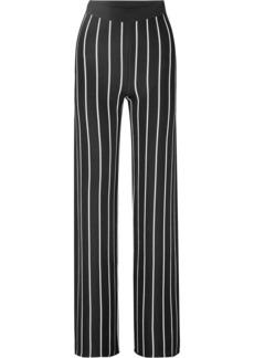 Balmain Woman Striped Stretch-knit Wide-leg Pants Black