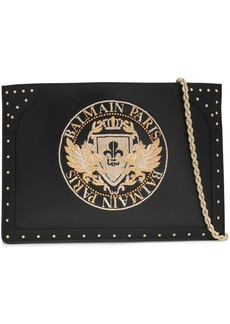 Balmain Woman Studded Embroidered Leather Clutch Black