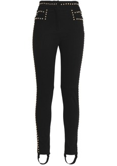 Balmain Woman Studded High-rise Stirrup Skinny Jeans Black