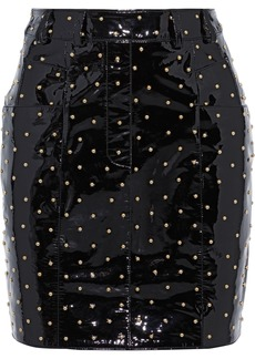 Balmain Woman Studded Patent-leather Mini Skirt Black