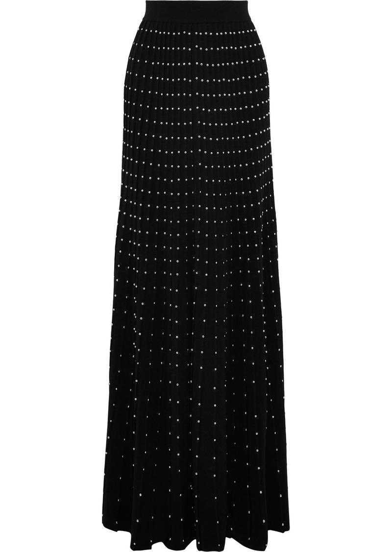 Balmain Woman Studded Pleated Wool-blend Maxi Skirt Black