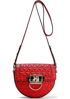 Balmain Woman Studded Quilted Leather Shoulder Bag Red