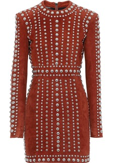 Balmain Woman Studded Suede Mini Dress Brick