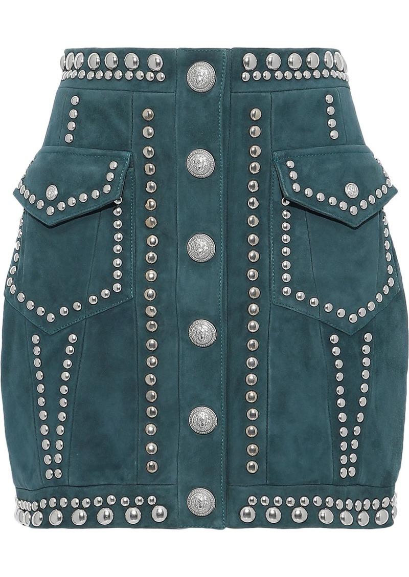 Balmain Woman Studded Suede Mini Skirt Emerald