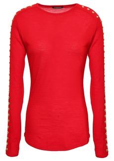 Balmain Woman Studded Wool-jersey Top Red