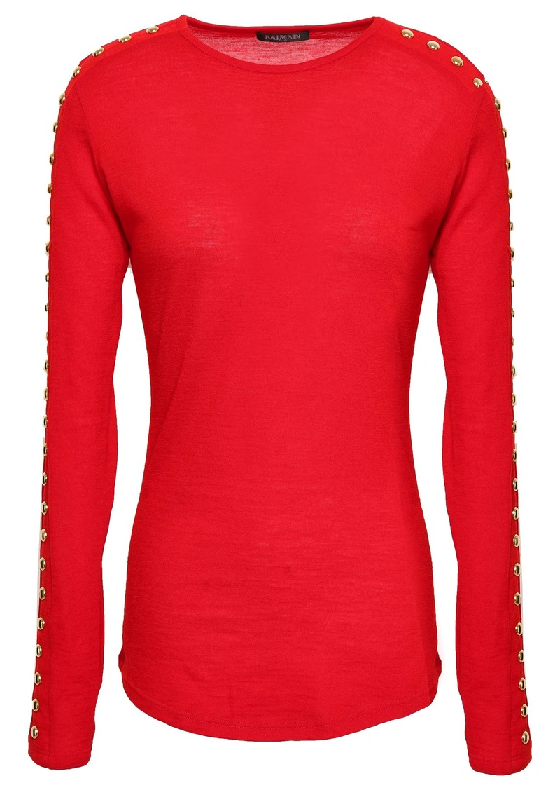 Balmain Woman Studded Wool-jersey Top Red