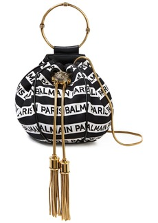 Balmain Woman Tasseled Jacquard Clutch Black