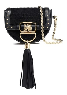 Balmain Woman Tasseled Leather-trimmed Quilted Suede Shoulder Bag Black