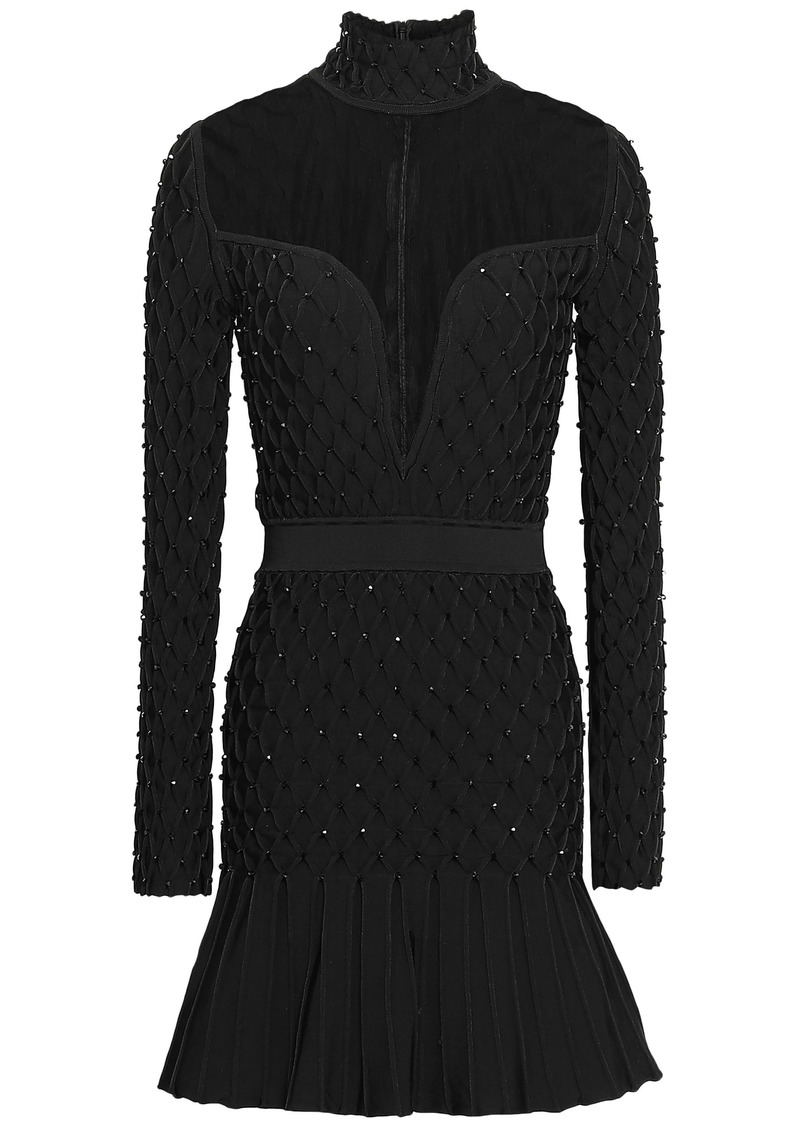 Balmain Woman Tulle-paneled Embellished Smocked Stretch-knit Mini Dress Black