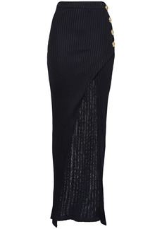 Balmain Woman Wrap-effect Button-embellished Ribbed-knit Maxi Skirt Midnight Blue
